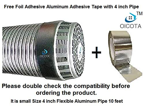 Oicota Aluminium Chimney Exhaust Duct Pipe with Cowl Cover and Foil Adhesive Tape (4-inch,Silver)