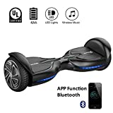 EVERCROSS Hoverboard Diablo Monopattino Elettrico Autobilanciato, Balance Scooter Skateboard, con LED, Bluetooth e App; 12Km/H (Nero)