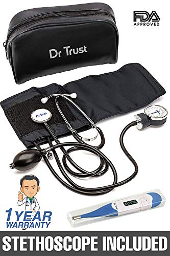 Dr Trust (USA) Sphygmomanometer Aneroid Type Manual Blood Pressure Monitor with Stethoscope (Black)