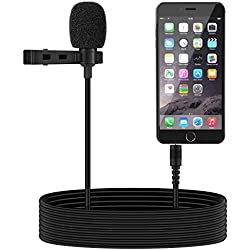 Tonor Micrófono de Solapa 3.5mm Estéreo Omnidirectional Condensador para Smartphone, Micrófono Mini Mic para Android, iPhone, iPad color Negro