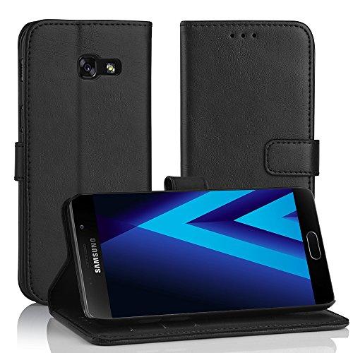 Galaxy A3 2017 Leder Hülle Schwarz, Simpeak PU Leder Flip Case Cover Wallet für Samsung A3 2017 [Kartensteckplätze] [Stand Feature] [Magnetic Closure Snap]