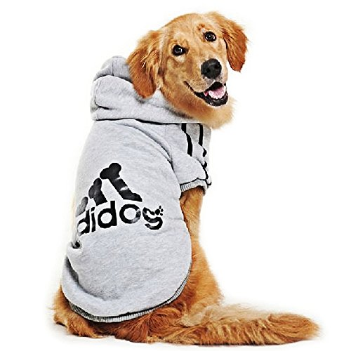 Eastlion adidog Hunde Warm Hoodies Mantel Kleidung Pullover Haustier Welpen T-Shirt Grau 3XL