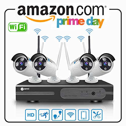 Anni 4CH 720P Wireless Kit Videosorveglianza HD NVR Kit Wifi Sistemi di sorveglianza,(4) 1.0MP Telecamere Bullet IP per esterni,P2P,65ft Visione notturna,Nessun cavo video necessario,NESSUN HDD