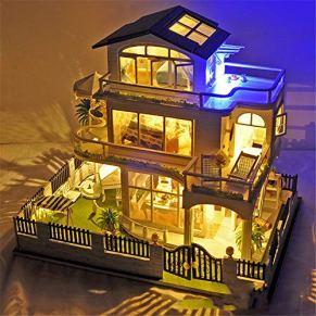 Casa de muñecas Diy House Casa de muñecas de madera con muebles y accesorios Impresión Vancouver Manual de ensamblaje Modelo Villa Miniatura 3D Kits de artesanía de invernadero Mini Diorama House Reno