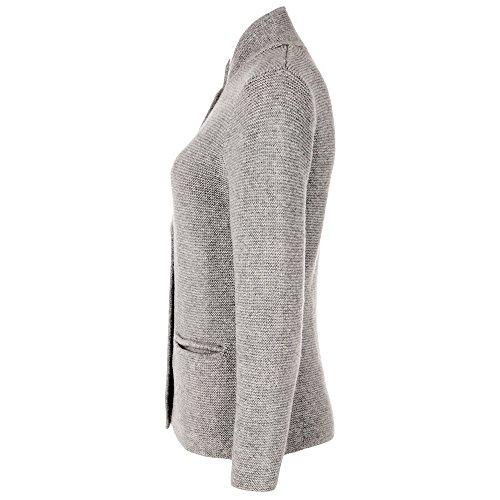 ALMBOCK Trachten Strickjacken für Damen | Damen Trachtenjacke mit Hirschhornoptik Knöpfen | Strickjacke Trachten grau - Trachtenjacke Gr. XL - 4