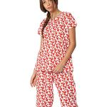 Huggs Luxury 100% Cotton 2pc Full Length Pyjama Set for Women Super Soft Cotton Pyjamas for Women Printed Cool Cotton Sleepwear Set Capri for Women Pyjamas Loungewear Notch Collar Pyjama (S- XXL)