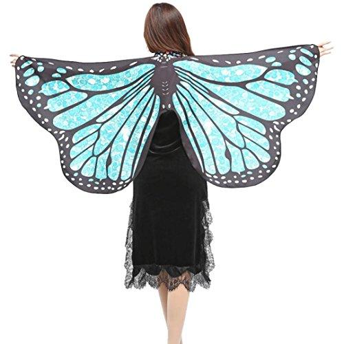 VENMO Disfraz de Chal de Alas de Mariposa Adulto Chica Mujeres Bufanda Ninfa Pixie Poncho Traje Accesorio (Azul claro)