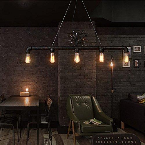 Lingkai Lampada da soffitto industriale Luce d'epoca Edison Rustic Retro Light Pendente Steampunk...