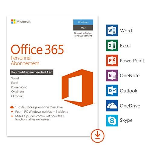Microsoft Office 365 Personnel | 1 PC Windows ou Mac + 1 tablette | 1 an |...