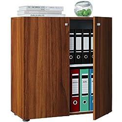 """VCM Sideboard Kommode Anrichte Aktenschrank Bücherregal Büroschrank Dielenmöbel Kern-Nussbaum 70x70x40 cm """"Vandol Mini"""""""