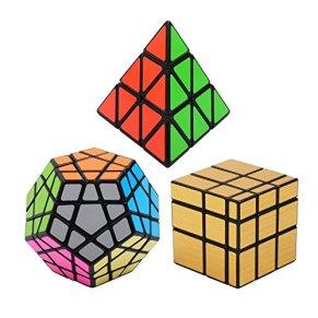 Vdealen Negro Magic Dodecahedron Megaminx + 3x 3x 3Pyramid + 3x 3Color Dorado Espejo Puzzle Cube, Pack Plata