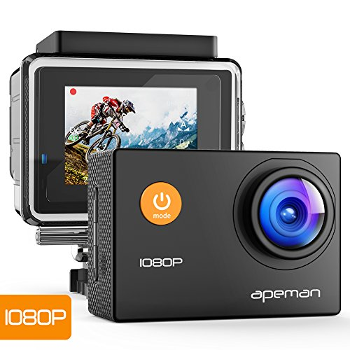 APEMAN A66,  Action camera Full HD 1080P con custodia impermeabile, 170° grandangolare e kit accessori per sport esterni, Nero