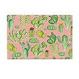 Alfombra Cactus Color Rosa Con Cactus En Tonos De Verdes