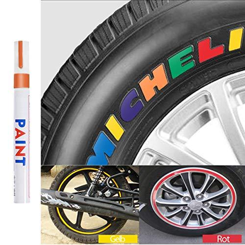 Qbisolo Reifenfarbe Marker Pens, wasserdichte Permanent Pen Reifenstift Marker Stift für Auto Motorrad Reifenprofil Fahrradreifen 1