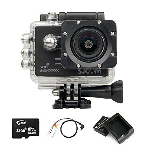 SJCAM SJ5000X WIFI Elite Edition Action Sport Cam Camera Waterproof Videocamera Fotocamera digitale Helmetcam(4K video @24FPS,Gyro Anti-Shake Stabilizzatore,Novatek 96660,2.0 inch LCD,12 Megapixel,Impermeabile 30 Metri)con 2 Batteria ricaricabile+Batteria Charger+32GB Micro SD card+AV to USB cable-Nero