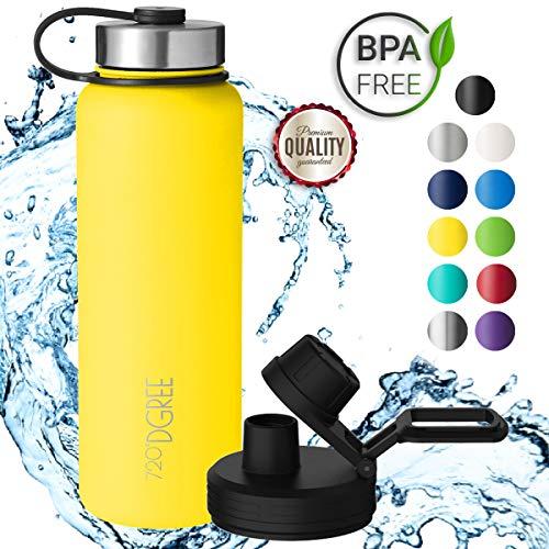 720°DGREE Borraccia Acqua Termica noLimit - 1200ml, Giallo, Yellow | BottigliaaAcciaio Inox...