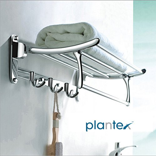 Plantex High Grade Stainless Steel Folding Towel Rack for Bathroom/Towel Stand/Hanger/Bathroom Accessories(18 Inch-Chrome)