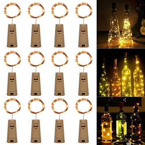 SanGlory 12 Pezzi 2m 20 LED Luci per Bottiglia, Luci Stringa per Bottiglia a Batteria, Filo D'argento Led Decorative Interni e Esterni per Festa, Giardino, Natalizie, Matrimonio (Bianco Caldo)