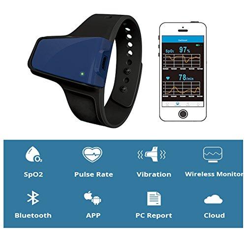 Lunasea sans fil apnée du sommeil Obstructives Aid tracker moniteur de fréquence cardiaque et SPO2Oxymètre de pouls Alarme 7