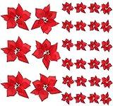 NAHUAA 30 pcs Poinsettia Flores Artificiales Decoraciones Navideñas Flores de Seda Flor de Pascua para Árbol de Navidad Decoración de Mesa Navideña Guirnalda Boda Rojo
