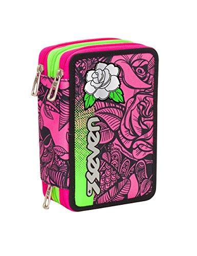 ASTUCCIO scuola SEVEN - ROSES GIRL - 3 scomparti - pennarelli matite gomma ecc.. Rosa Nero