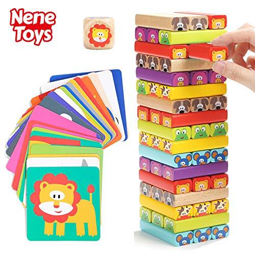 Nene Toys - Torre Magica Colorata in Legno con Animali - Gioco Educativo da Tavolo per Bambini -...