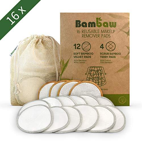 Waschbare Abschminkpads| 16 Abschminktücher aus Bambus & Baumwolle mit Wäschebeutel | Umweltfreundlich | Wattepads wiederverwendbar | Gesichtsreinigung | Zero Waste | Bambaw