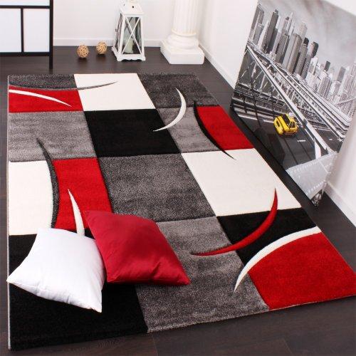 Tappeto di Design Orlo Modello A Quadri nei Colori Bianco Rosso Grigio Nero, Dimensione:200x290 cm