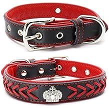 SLZZ® - Collar de piel trenzada acolchada para perro, corona de diamantes de imitación y elegante trenzado – suave acolchado collar para mascotas – se adapta a pequeñas razas medianas y grandes