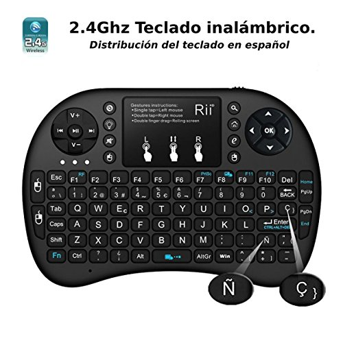 513esWhHrOL - (Actualizado, Retroiluminado) Rii i8+ Mini teclado inalámbrico 2.4Ghz con touchpad integrado, retroiluminación Led y batería recargable de Litio-IO
