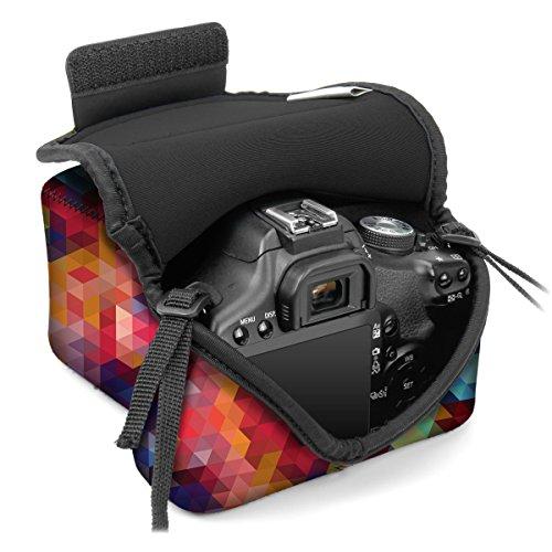Kameratasche für Spiegelreflexkameras von USA Gear: Kamera-Schutzhülle aus Neopren für DSLR/SLR, geometrisches Muster & Zubehörtasche, ideal für Canon EOS 1300D/200D, Nikon D3400 & mehr