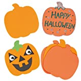 Halloween Pumpkin Foam Art & Craft Shapes for Children to Decorate and Display (Pack of 10)
