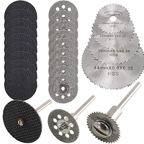 Hojas de Sierra Circular Set, ZFYQ Mini Disco Corte Diamante & Mini Hoja de Sierra Circular HSS & Mini Disco de Corte de Resina (3mm Mandril) para Cortar Madera Piedra Metal - Paquete de 30 Piezas