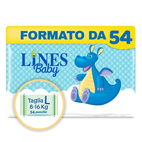 Lines Baby Large, Confezione da 54 Pannolini, Taglia 4 (8-16 Kg)