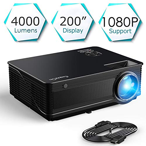 ExquizOn Videoproiettore M5 4000 Lumen, Supporto Full HD 1080P HDMI/VGA/AV/USB Home Cinema con...