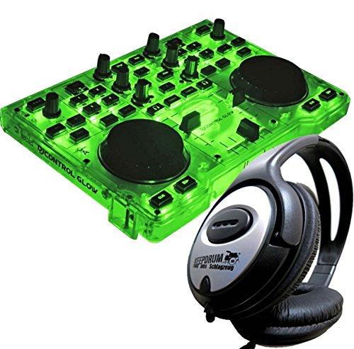 Hercules DJ - Controlador de tablero DJ Glow Green con brillo verde + auriculares Keepdrum estéreo