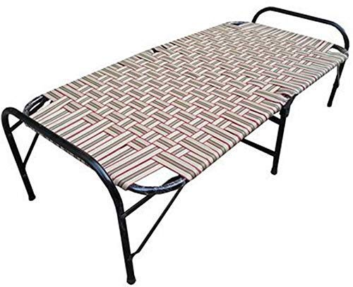 SSI Sharma Steel Industries Folding Bed with Nylon Niwar (Brown)