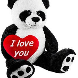 Brubaker Panda di Peluche di Grandi Dimensioni – Altezza 100 cm – con Un Cuore in Peluch