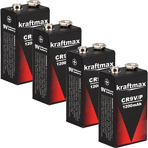 4x Kraftmax Lithium 9V Block Hochleistungs- Batterien für Rauchmelder / Feuermelder - 10 Jahre Batterie Lebensdauer