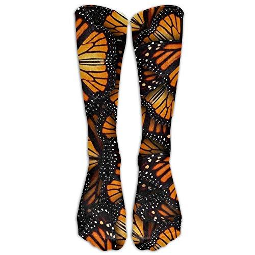 Socksforu NUEVO Montones de naranja Mariposas monarca Calzado atlético Medias de hombres Clásicos Calcetines hasta la rodilla Calcetines largos deportivos Un tamaño