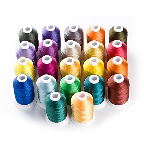 1000 Meters Huge Spool Polyester Embroidery Machine Thread Set for Janome Brother Pfaff Babylock Singer Bernina Husqvaran Kenmore Machines (22 Colors)