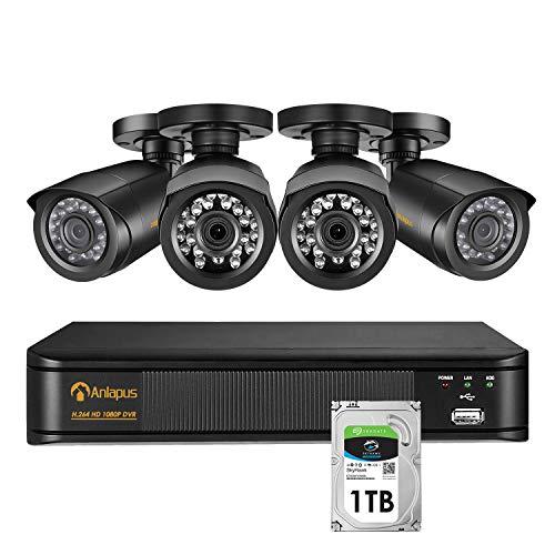 Anlapus sistema di videosorveglianza per la sicurezza domestica, sistema DVR a 8 canali + 4x 1080p telecamere bullet CCTV per uso interno ed esterno con disco rigido da 1TB