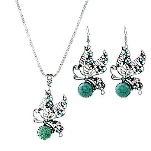 Hosaire 2 Set - Pendientes Collar de Turquesa Hueco Retro de la Mariposa Moda Muchachas de las Mujeres Pendientes Nuevo Estilo para Mujeres de la Joyería Accesorios