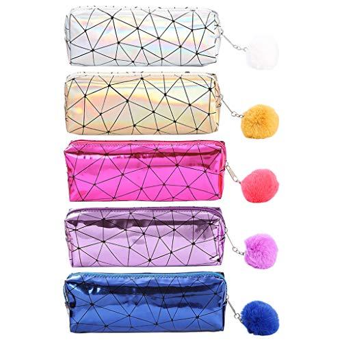 Liaobeiotry - Astuccio olografico iridescente laser per ragazze, carino scatola per matite, palloni...