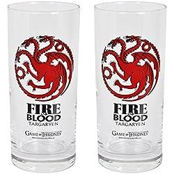 Juego de Tronos vasos, decorado de 2 Casa Targaryen dragón 14.5cm cresta 290ml