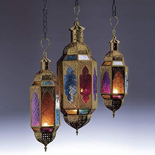 Authentische marokkanische goldene Hängelaterne im Stil großer klassischer Vintage türkischer Innenbereich Haus & Garten Farbe Glas Laterne Kerze Teelichthalter für Dekorationen, multi, S