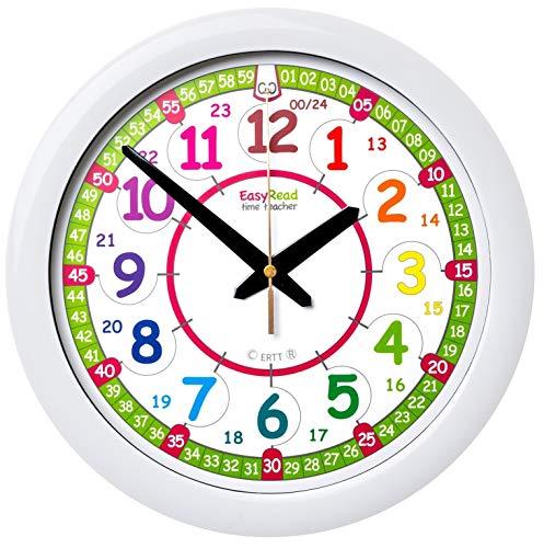 Orologio da parete per bambini EasyRead Time Teacher, con indicazione 12 e 24 ore (digitale). Impara a leggere l'ora in formato digitale su un orologio analogico, grazie a un sistema di insegnamento semplificato a 2 fasi. Diametro 29 cm, età 5-12 anni.