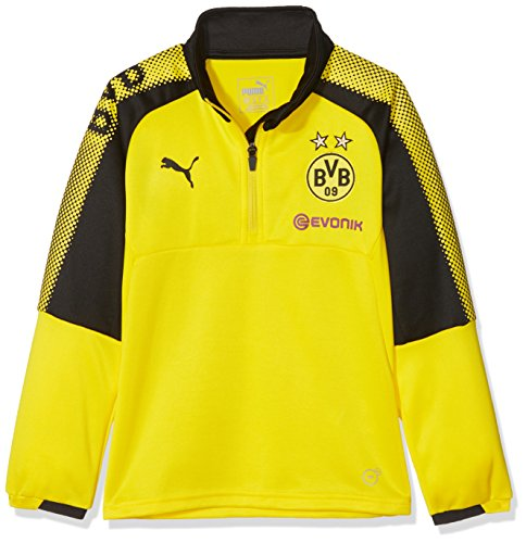 Puma BVB Niños 1/4Training Top with Sponsor Logo–Camiseta, Infantil, Color Cyber Yellow-puma Black, tamaño 152