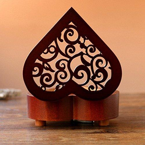 Boîte à musique, EN FORME DE Cœur vintage Wood sculpté Mécanisme à manivelle Boîte à musique