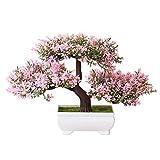 Pittospwer - 1 flor artificial con árbol de pino para fotografía, decoración para la casa de Bonsai de novia